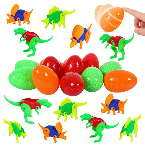 12 Pcs Easter Eggs Filled with Transformed Dinosaurs - 3.5 Inches Colorful Easy Closing Surprise Eggs for Kids Easter Hunt, Filling Treats and Party Favor ()
