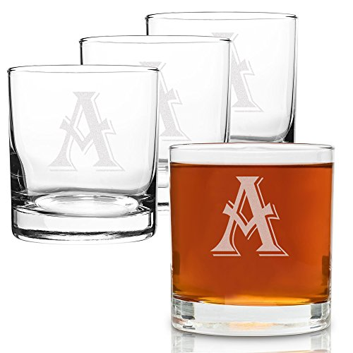 On The Rox 4 Piece Glass Set Engraved with A-Monogram, 11-Ounce - 4 Piece Old Fashioned Glass
