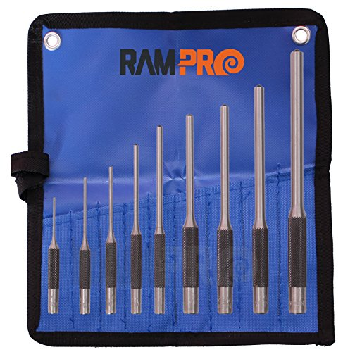 RAM-PRO Roll Pin Punch Set with Storage Pouch, 9 Piece Steel Removal Tool Kit | Perfect for Jewelry, Watches, Gun Rifle (AR-15) Spring/Tension Pins