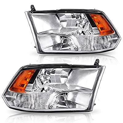 AUTOSAVER88 Headlight Assembly For 09-18 Dodge Ram 1500 2500 3500 Pickup QUAD,Chrome Housing with Daytime Running Lamps, ATHA0070: Automotive