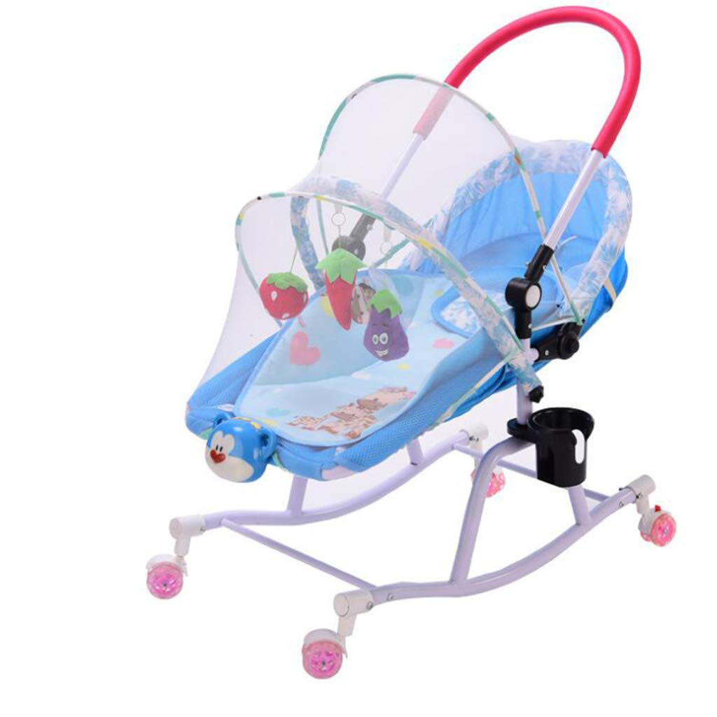 C Baby Rocking Chair, Inclined Recliner Soothing Baby Rocking Chair Newborn Multi-Function Music Swing Baby Comfort Rocking Chair Cradle Chair Bodyguard,B