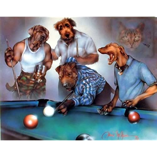 Wall Decor Dogs Playing Pool Funny Kids Room Art Print Poster (8x10)