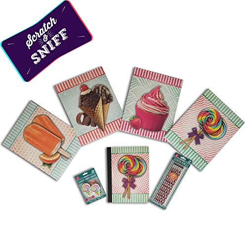 Fruity Lolipop – Paquete de 13 artículos con aroma a material escolar, incluye 4 carpetas con aroma a escuela variedad,...