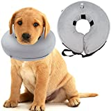 Mihachi Dog Inflatable Recovery Collar - Protective E-Collar Cone (8''-11'') Prevent Pets Dogs Cats from Biting Injuries Rashes and Wounds, Gray, Small