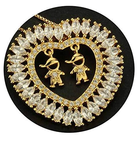 Golden Color Copper Multi-Color Cubic Zirconia Boy and Girl Pendant Necklaces Cobre CZ Colar (T De Cobre)