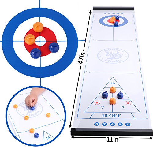 Fledo 3-in-1 Table Games for Families - Tabletop Curling 、Shuffleboard and Bowling Games - Quick and Easy to Set-up - for Adults and Kids - Family Game or Travel Game by Fledo