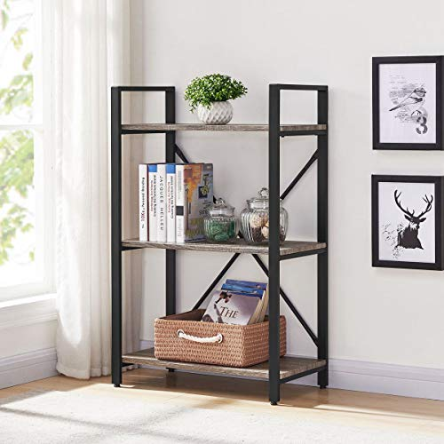 BON AUGURE 3-Shelf Narrow Bookcase, Rustic Storage Display Shelves, Industrial Sturdy Bookshelf, Dark Oak