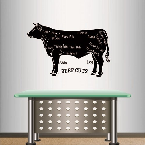 In-Style Decals Wall Vinyl Decal Home Decor Art Sticker Beef Cuts Butcher Meat Cow Cattle Room Removable Stylish Mural Unique Design 701