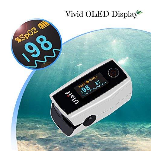 Oxímetro de Pulso, Ulaif Pulsioxímetro de Dedo y Monitor de Frecuencia Cardíaca con Pantalla OLED, Alarma y Función de Auto-Apagado(Incluye Bolsas de Viaje, ...