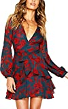 ECOWISH Womens Deep V Neck Adjustable Tie Waist Floral Dress Long Sleeve Ruffles Sexy Mini Sundress Navy Blue S