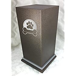 PERSONALIZED Custom Engraved Dog Badge Cremation Urn Vault by Amaranthine Urns, made in the USA, Eaton SE Painted Silver (up to 200 lbs living weight) (Cast Bronze)