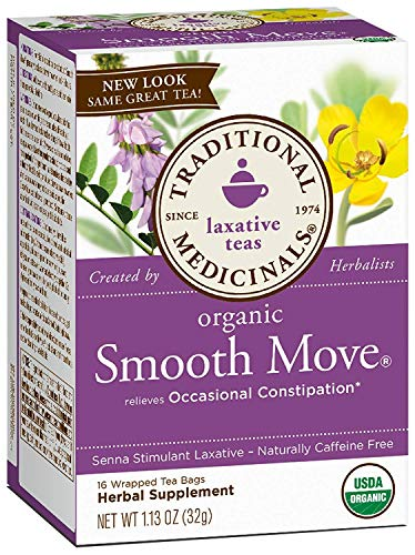 (Traditional Medicinals Organic Smooth Move Herbal Stimulant Laxative Wrapped Tea Bags - 16 ct - 2 pk)