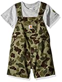 Carhartt Baby Boys 2-Piece Shortall Clothing Set, Duck Jeep (Green Camo), 6M