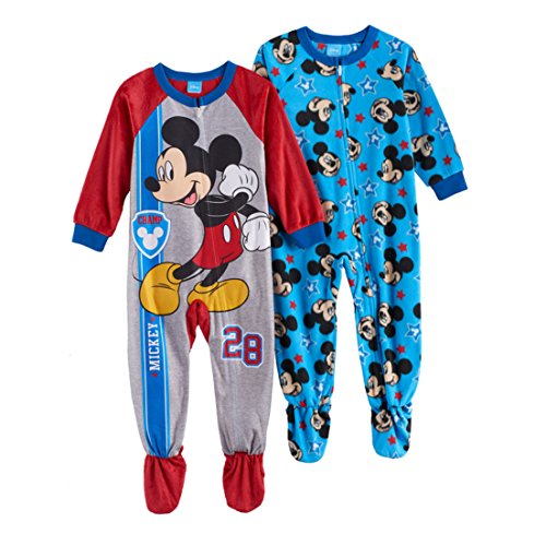 AME Mickey Mouse Fleece Footed Pajama Toddler Boy (Footed One Piece)