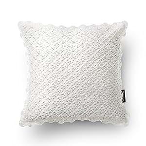 Phantoscope Linen Decorative Throw Pillow Case Cushion Cover Hand Made White Crochet Set of 2