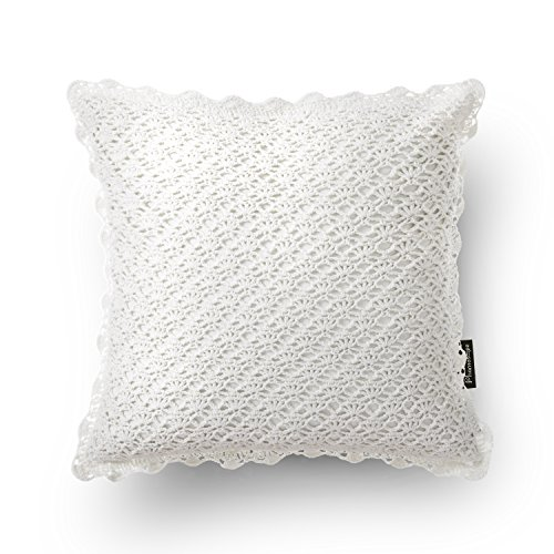 Phantoscope 100% handmade Cotton Decorative Throw Pillow Case Cushion Cover Off-white Crochet 18 X18