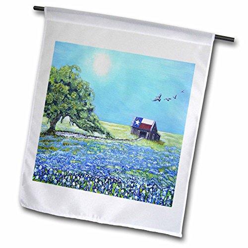 Melissa A. Torres Art Texas - Image of Texas barn with Live Oak Tree, birds, and Bluebonnets - 12 x 18 inch Garden Flag (fl_242914_1) ()