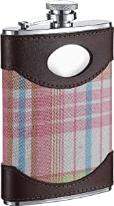 Visol Hannah Plaid Stainless Steel Hip Flask for Women, 8-Ounce, Pink