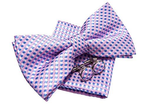 Retreez Wavy Zig Zag Stripe Pattern Woven Pre-tied Bow Tie (5