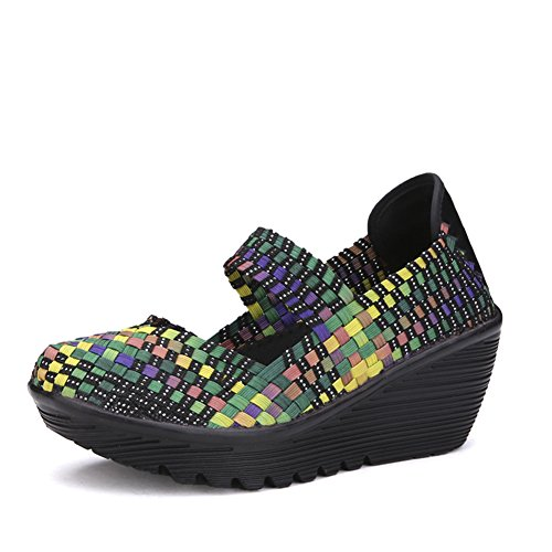 ba4568bf00 HKR HKR-889-1caise36 Women Woven Platform Wedges Shoes Fashion Multicolor Weave  Sandals Multicolor 6 B(M) US - Buy Online in Oman.