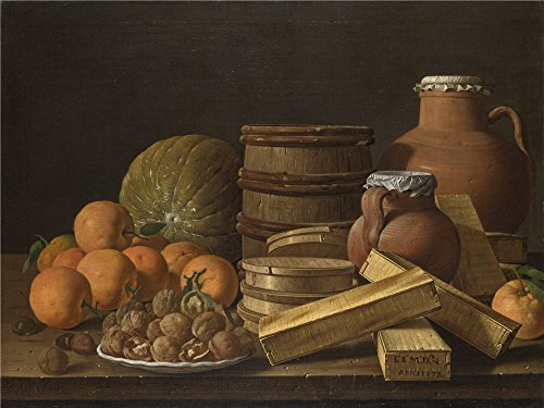 'Luis Melendez Still Life With Oranges And Walnuts ' Oil Pai