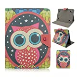 Tsmine Nextbook Ares 8 / Nextbook 8-inch Tablet Flip Cartoon Case - Universal Protective Lightweight Premium Kids Cute Owl Printed PU Leather Case Cover, Owl Under the Stars