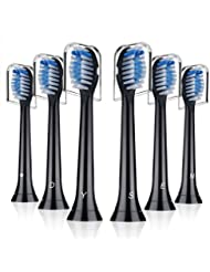 Replacement Toothbrush Heads for Philips Sonicare ProtectiveClean 5100 Gum Health, Compatible with DiamondClean HealthyWhite FlexCare 2 Series 3 Series Brush Handles by Dysen, 6 Pack Black