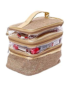 Kuber Industries Jute Make up Jewellery Kit, Golden Make-up Kits at amazon