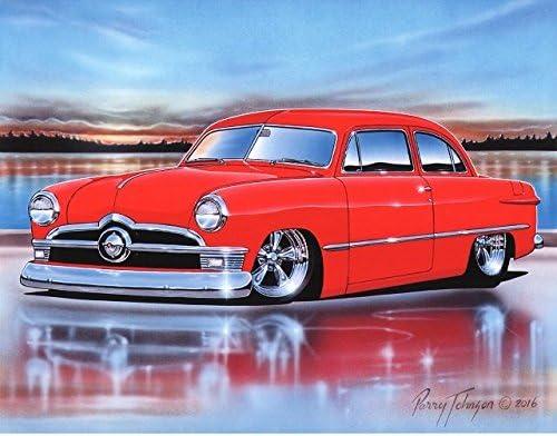 1955 Chevy Bel Air 2 Door Hardtop Hot Rod Car Art Print 11x14 Poster