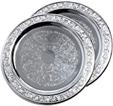 Maro Megastore (Pack of 2) 11'' Traditional Round Floral Pattern Engraved Catering Chrome Plated Serving Tray Mirror Deco Plate Platter Tableware Holiday Wedding Buffet Serving (Medium) T471-11-2PK