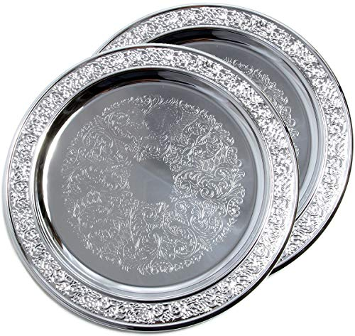 Maro Megastore (Pack of 2) 11'' Traditional Round Floral Pattern Engraved Catering Chrome Plated Serving Tray Mirror Deco Plate Platter Tableware Holiday Wedding Buffet Serving (Medium) T471-11-2PK by Maro Megastore