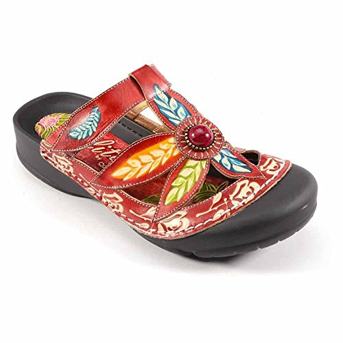Corkys Womens Elite Coastal Hand Painted Leather Bump Toe Sandals (7, Red) (Leather Painted)