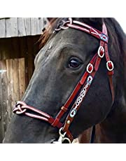 Metal Leather Horse Head Collar, Soft Comfortable Horse Reins with Adjustable Strap for Training and Riding Draft Horses, Practical Equestrian Accessories