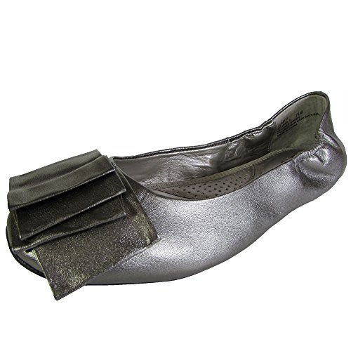 Me Too Womens Lilyana Leather Ballet Flat Shoe, Pewter Metallic, US 5.5 (Ballet Leather Metallic Flats)