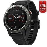 Garmin Fenix 5 Multisport 47mm GPS Watch - Slate Gray with Black Band (010-01688-00) + 1 Year Extended Warranty