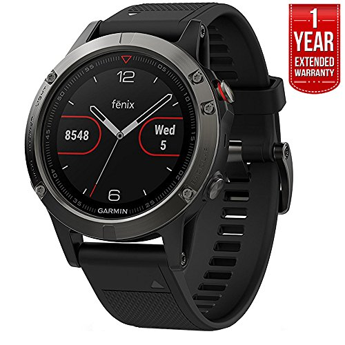 Garmin Fenix 5 Multisport 47mm GPS Watch – Slate Gray with Black Band (010-01688-00) + 1 Year Extended Warranty
