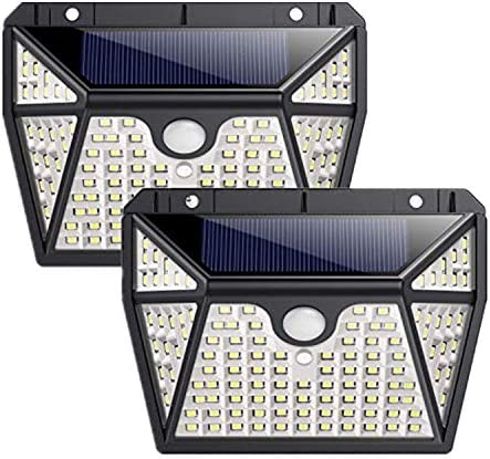 Solar Lights Outdoor118 LED Solar Motion Sensor Light Waterproof Security Light Wall Night Light with 3 Modes 270 Wide Angle for Garden, Patio Yard, Deck Garage, Fence, Porch – 2 Pack