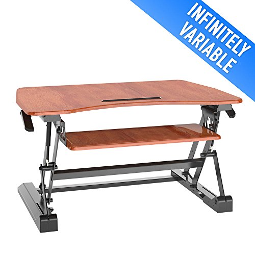 Sit to Stand Desk Adjustable Workstation with Smooth Straight Up and Down Movement – Cherry, Aeon 80005