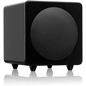 """Kanto sub8 Powered Subwoofer – 8"""" Paper Cone Driver — Powerful Bass Extension – Gloss Black"""