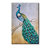 Peacock Oil Painting cubism Big Size 20x30Inch (50x75CM)100% Hand painted Canvas Blue and Green for Home Wall Art Decoration ,Framed, Ready to Hang
