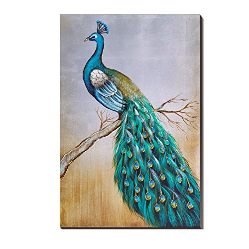 3Hdeko-Peacock Oil Painting Mosaic Gold Foil 20x30Inch 100% Hand painted Canvas Blue and Green for Home Wall Art Decoration ,Framed, Ready to Hang