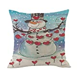 Merry Christmas Throw Pillow Cases Pgojuni Cushion Cover Cotton Linen Pillow Cover 1pc 45cmx45cm (A)