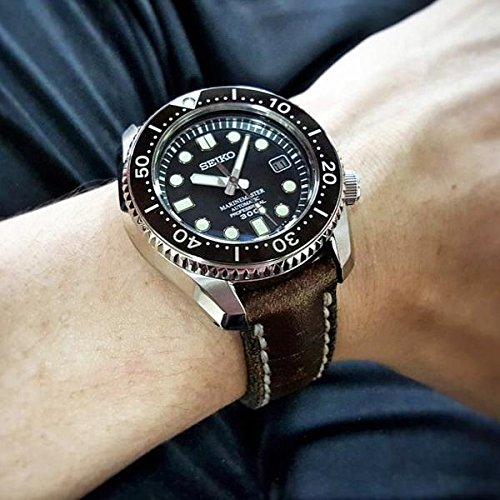 Custom 22mm Handmade Premium Calf Leather Watch Band Gunny Straps - Blacksteel