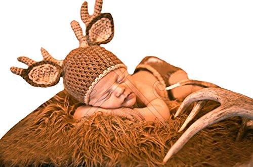 CX-Queen Baby Photography Prop Crochet Knit Unisex Deer Beanie Hat Diaper
