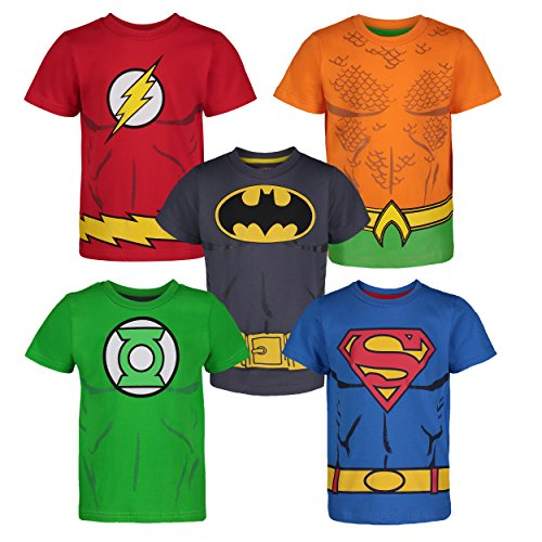 Justice League Little Boys' 5 Pack T-Shirts - Batman, Superman, The Flash, Green Lantern and Aquaman -