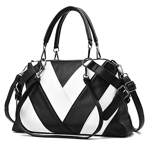 Chooray Women's Handbags Purse Satchel Shoulder Bags Tote Fashion Designer Ladies Top Handle Bags (white and black)