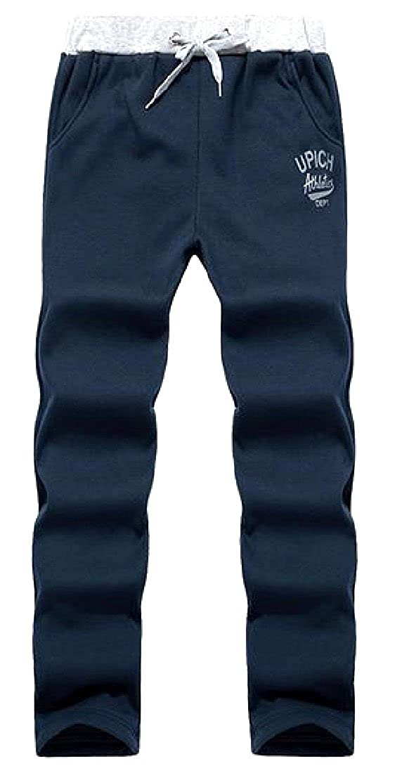 Comaba Mens Plus-Size Letter Printed Drawstring All-Match Sweatpants