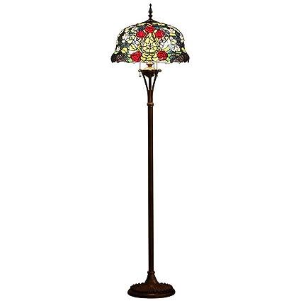 GAOLIQIN Tiffany Style - Lámpara de pie, European Rose ...
