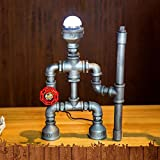 Vintage Robot Style Table Lamp Lighting, MKLOT Ecopower Plug-in Retro Industrial Iron Pipe Table Lamp W7.28'' x H11.61'' Edison Desk Accent Lamp Light with Dimmer Switch - Cool Light