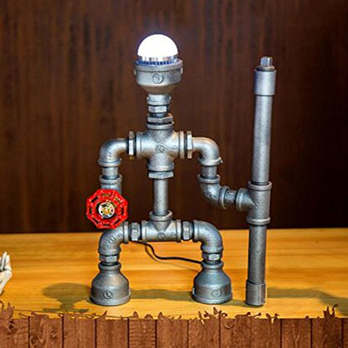 Vintage Robot Style Table Lamp Lighting, MKLOT Ecopower Plug-in Retro Industrial Iron Pipe Table Lamp W7.28'' x H11.61'' Edison Desk Accent Lamp Light with Dimmer Switch - Cool Light by MKLOT